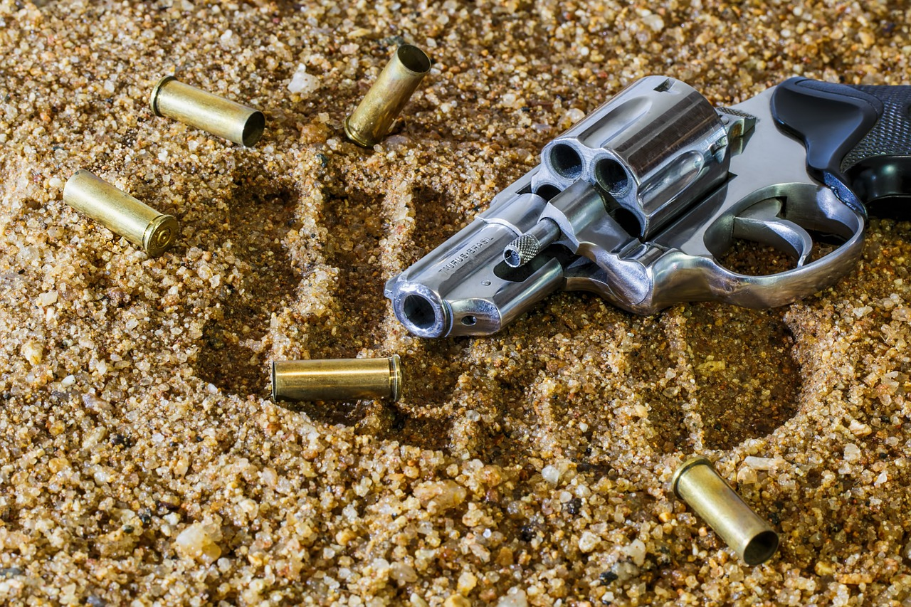 Used Firearm with Empty Bullet Shells