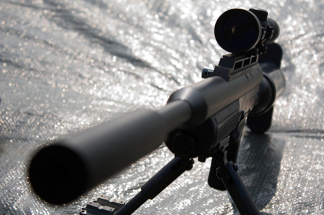 Rifle With Silencer Close Up